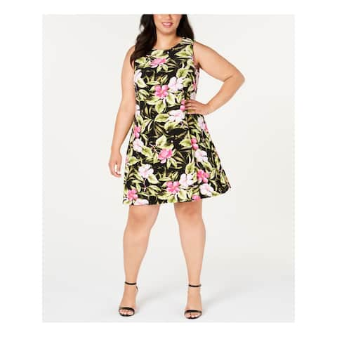 KASPER Black Sleeveless Knee Length Fit + Flare Dress Size 2X