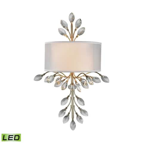 2-Light Sconce In Aged Silver With Organza And White Fabric Shade - Made Of Crystal Fabric Metal -