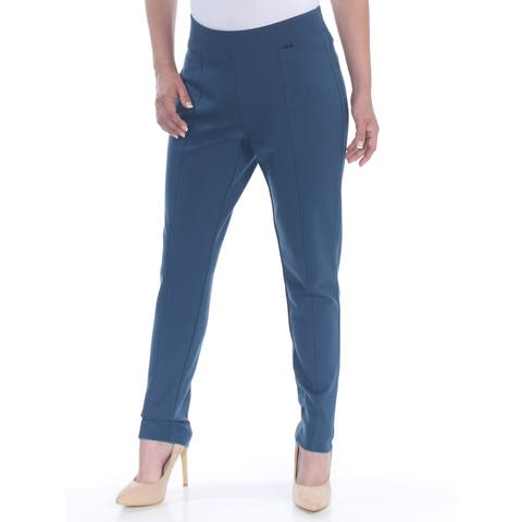 ANNE KLEIN Womens Blue Compression Wear To Work Pants Size: 6
