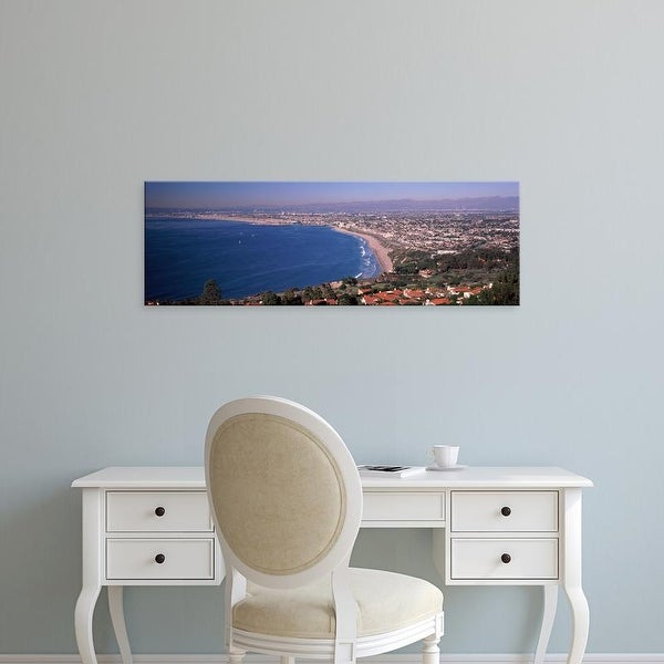 Easy Art Prints Panoramic Image 'City at coast, Santa Monica Beach, Beverly Hills, Los Angeles, California' Canvas Art