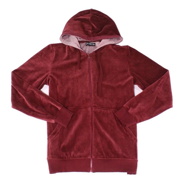 Wellington NEW Burgundy Red Mens Size Small S Full Zip Hooded Sweater