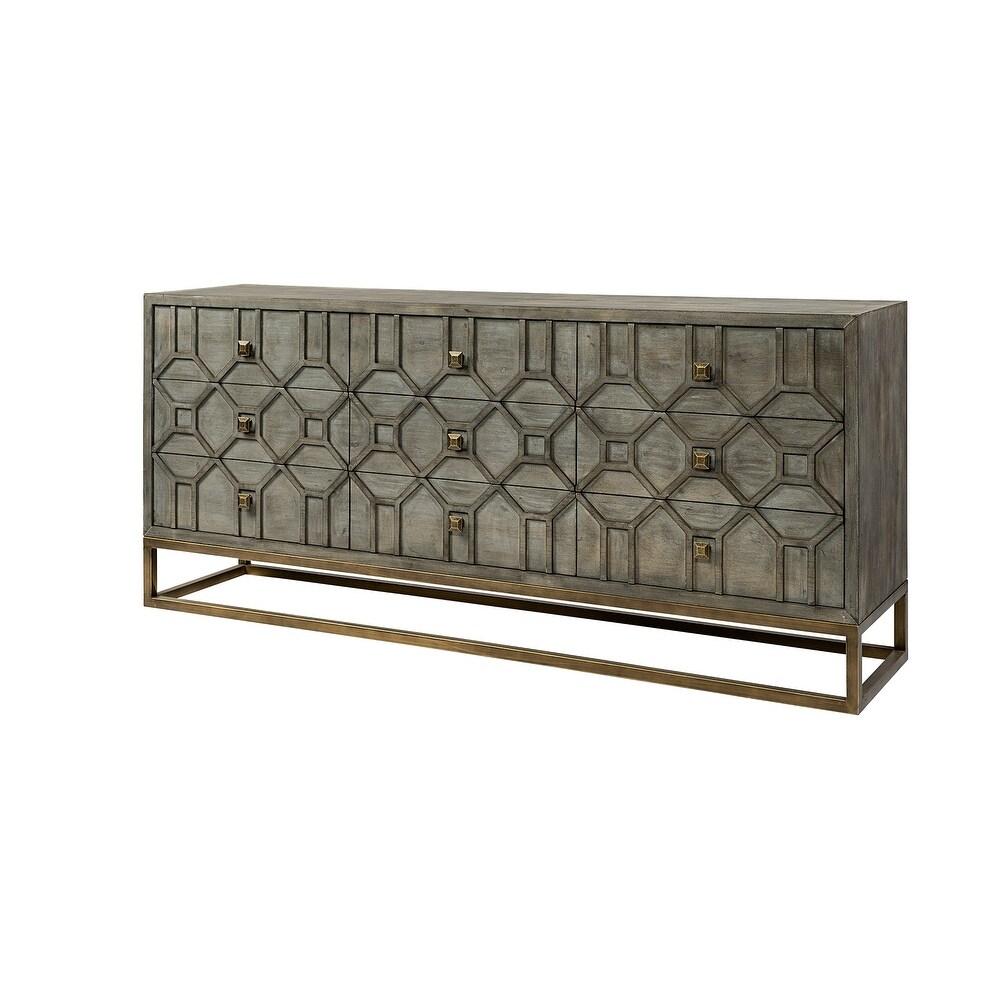 Mercana Genevieve II Brown Solid Wood Frame Gold Metal Base 9 Drawer Sideboard