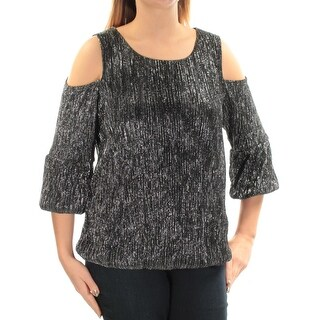 Womens Black Silver 3/4 Sleeve Jewel Neck Top Size OX