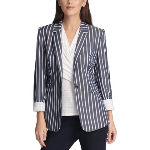 DKNY Womens One-Button Suit Jacket Striped Business - Navy/White