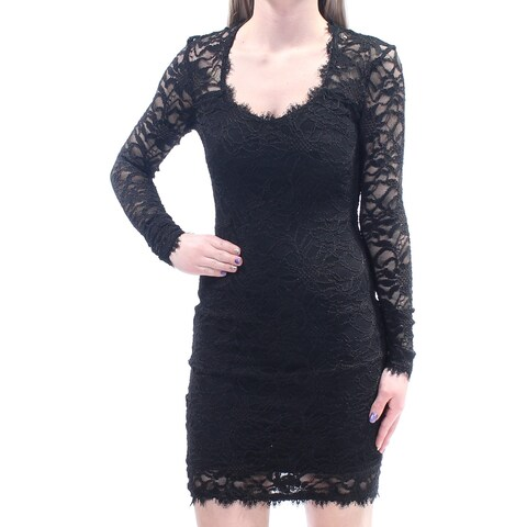 Womens Black Long Sleeve Above The Knee Body Con Cocktail Dress Size: 1