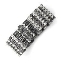Silvertone & Black IP Acrylic Beads Stretch Bracelet