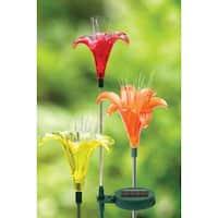 Exhart 53534 Solar Lily Garden Stake, Assorted, 1Pcs/Pk
