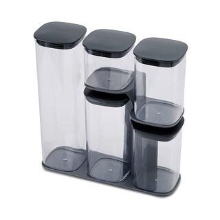 Joseph Joseph 81071 Podium Dry Food Storage Container Set with Stand, 5-Pieces, Gray