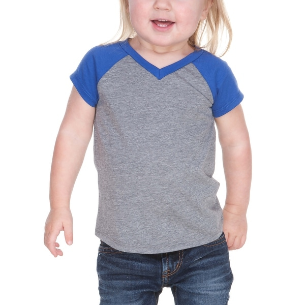 Kavio! Unisex Infants Sheer Jersey Contrast V Neck Raglan Short Sleeve
