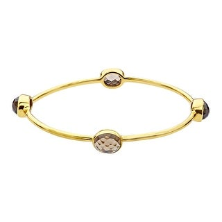 smoky Quartz Bangle Bracelet in 18K Gold-Plated Brass - Brown