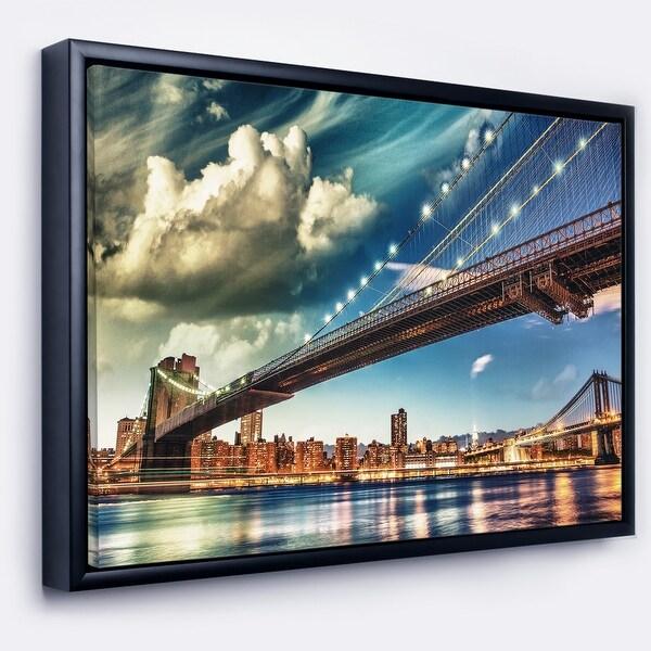 Designart 'Manhattan Skyline at Summer' Cityscape Photo Framed Canvas Print. Opens flyout.