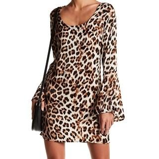 The Vanity Room NEW Brown Womens Size Medium M Bell-Sleeve Sheath Dress