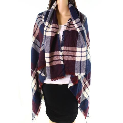 David and Young Red Blue Women's One Size Plaid fringe-Trim Wrap