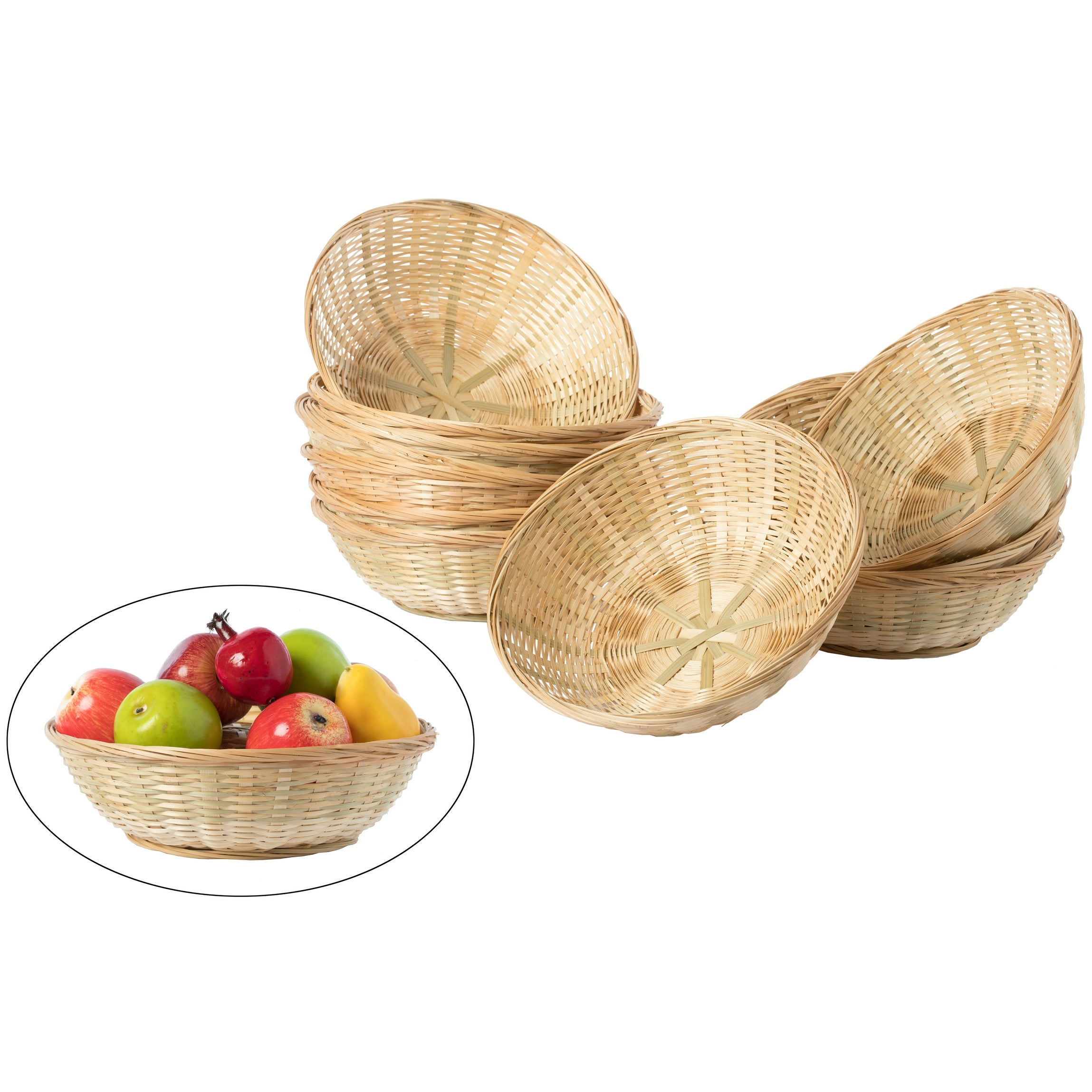 Rattan Hand-Woven Round Storage Basket Bread Fruit Decorative Tray Rustic Style