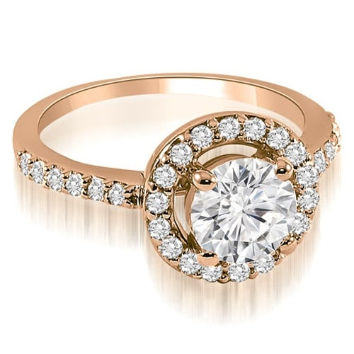 0.75 cttw. 14K Rose Gold Halo Round Cut Diamond Engagement Ring