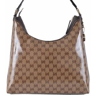 Gucci Women's 339553 GG Guccissima Crystal Line GG Pendant Hobo Purse - Brown