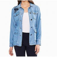 Skye's The Limit Womens Plus Embroidered Cargo Jacket