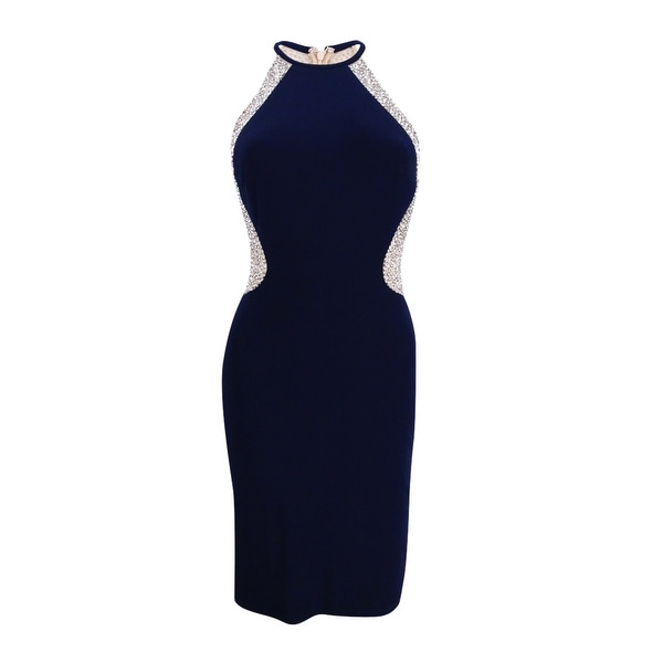 b6be7b83 Shop X By Xscape Women's Beaded Mesh & Jersey Sheath Dress (2, Navy/Nude/Silver)  - Navy/Nude/Silver - 2 - On Sale - Free Shipping Today - Overstock - ...