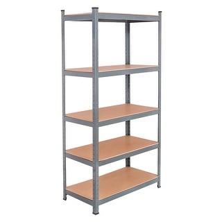 Gymax 72'' Steel 5-tier Garage Shelf Metal Storage Adjustable Unit - as pic