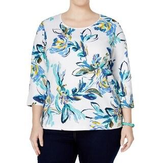 Karen Scott Womens Plus Casual Top Floral Print 3/4 Sleeves
