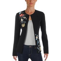 Tahari ASL Womens Collarless Blazer Embroidered Office