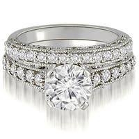 1.35 CT.TW Antique Milgrain Round Cut Diamond Bridal Set - White H-I
