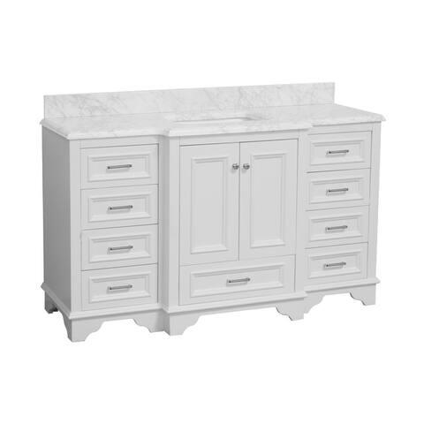 "KitchenBathCollection Nantucket 60"" Single Bathroom Vanity with Carrara Marble Top"