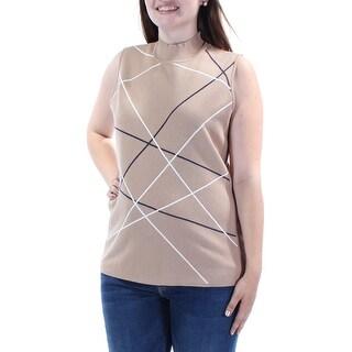 ALFANI $60 Womens New 1208 Beige Turtle Neck Sleeveless Tunic Sweater L B+B