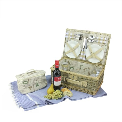 """7.75"""" x 17.25"""" Warm Gray Hand Woven Scripted Willow 4-Person Picnic Basket Set with Accessories"""