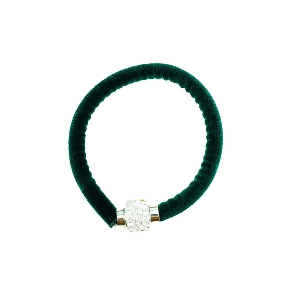 max & MO Rhinestone Magnetic Clasp Velvet Green Bracelet - Hunter Green