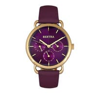 Bertha Gwen Leather-Band Watch - Purple