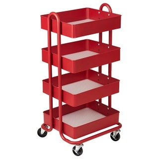 4-Tier Utility Rolling Cart Red
