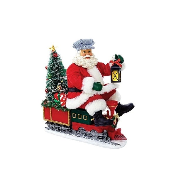"11"" Fabriche ""North Pole Express"" LED Lighted Santa Claus Christmas Table Top Figure"