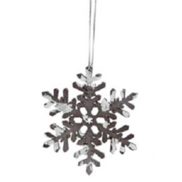 "4"" Snowy Winter Glitter Tipped Brown and White Snowflake Decorative Christmas Ornament"
