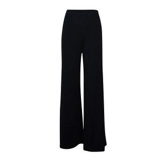 JM Collection Women's Wide-Leg Jersey Pull-On Pants - Deep Black