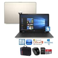 """HP 15 Core i3-7100 2TB HDD 15.6"""" HD Touch Screen Laptop Bundle with Office 365 - silk gold"""
