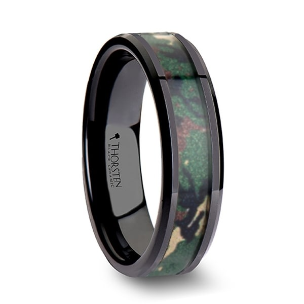 THORSTEN - RANGER Beveled Black Ceramic Wedding Ring with Real Military Style Jungle Camo - 6mm