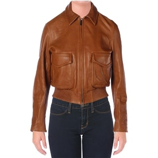 Helmut Lang Womens Bomber Jacket Leather Silk Lined