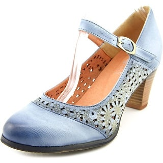 L'Artiste by Spring Step Efren Women Round Toe Leather Blue Mary Janes