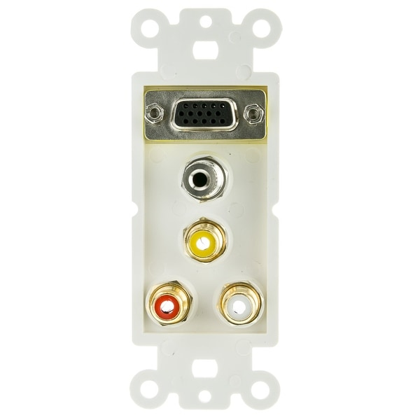 Offex Decora Wall Plate Insert, White, with 1 VGA, 3.5mm Stereo and 3 RCA (Red/White/Yellow) Female Couplers