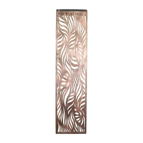 Exhart Solar Metal Filigree Wall Panel Art with Leaf Pattern, 8 x 33 Inches