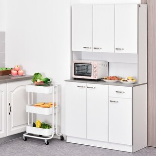 """Link to HOMCOM 71"""" Freestanding Kitchen Buffet Hutch Cupboard with 6 Doors, 3 Adjustable Shelves, and 1 Drawer, White Similar Items in Storage & Organization"""