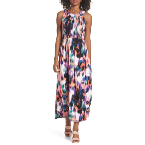Maggy London Purple Women's Size 16 Abstract Printed Maxi Dress