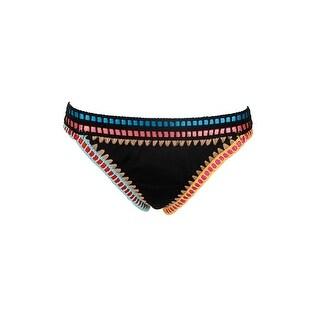 Bar Iii Black Be Weave It Cheeky Bikini Bottom XL