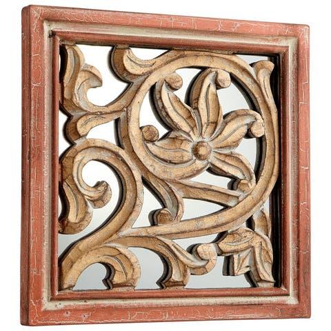 Cyan Design Vinum Mirror 10 x 10 Vinum Square Wood Frame Mirror Made in India - Antique Cherry