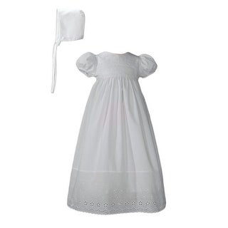 Baby Girls White Bonnet Lace Border Christening Dress Outfit