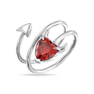 Bling Jewelry Red CZ Spiral Devil Heart Ring Stainless Steel (5 options available)