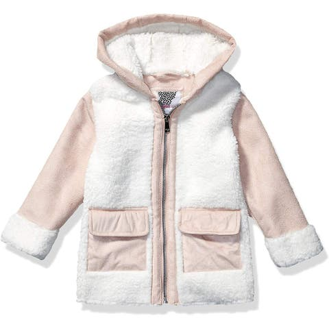 Kensie Girl's Jacket Pink Size 6x Hooded Faux-Suede Two-Tone Front-Zip
