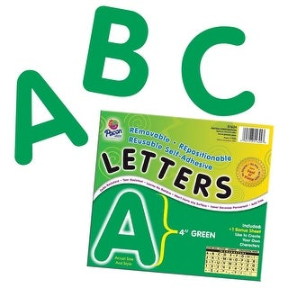 Pacon Self-Adhesive Reusable Letter, 4 in, Green, Pack of 78