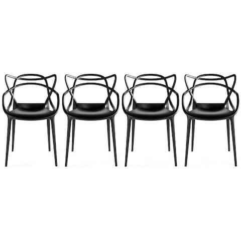 Set of 4 Modern Stacking Design Molded Chairs Dining With Arms Armchairs Living Room Kitchen